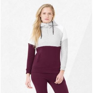 July Hoody Grey Melange Burgundy
