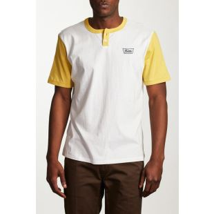 Stitch SS Henley Off White Washed Yellow