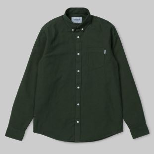 LS Dalton Shirt Rover Green Heavy Rinsed