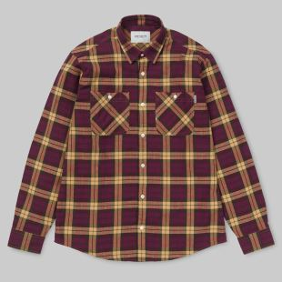 LS Sloman Shirt Check Mulberry Fawn